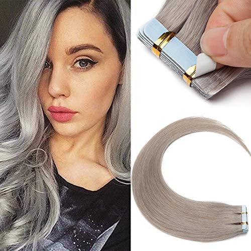 10 sztuk tresek z prawdziwych włosów na taśmie doczepiane włosy naturalne miękkie naturalna taśma klejąca 7 A ludzkie włosy do przedłużania włosów 25 g 60 cm szare