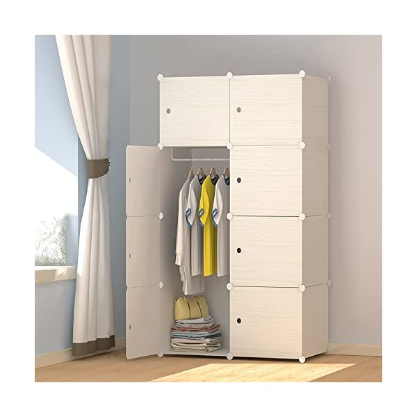 JOISCOPE Wood Pattern Portable Wardrobe Closet for Hanging Clothes, Combination Armoire, Modular Cabinet for Space Saving, Ideal Storage Organizer Cube for Books, Toys, Towels