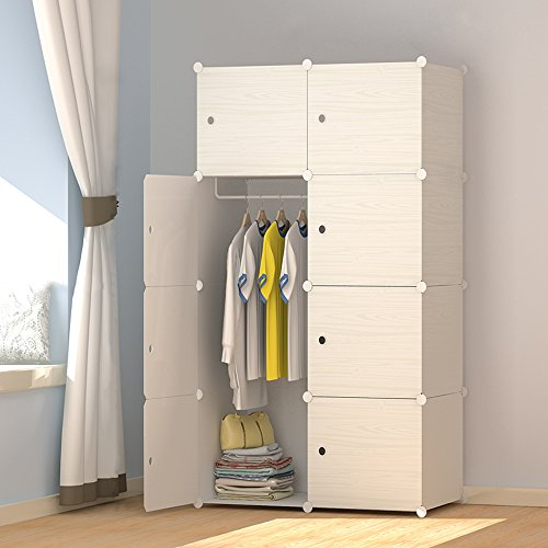 MEGAFUTURE Wood Pattern Portable Wardrobe Closet for Hanging Clothes, Combination Armoire, Modular Cabinet for Space Saving, Ideal Storage Organizer Cube for Books, Toys, Towels (8-Cube)