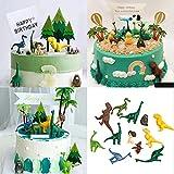 Decoración para Cakes de Dinosaurio,12 Piezas de Juguetes de Dinosaurios,Figuras de Dinosaurios decoración para Tartas,Niños Fiesta de Cumpleaños Dinosaurio Cake Decoración Tarta