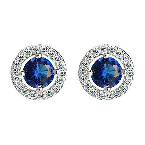 Sterling Silber Kristall Ohrringe für Frauen Ohrstecker - Blauer Stein