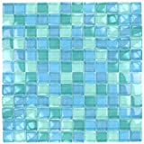 Turquoise Blue Glass Tile Blend 1' x 1'