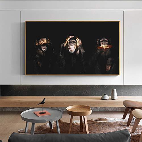 Dark Swag Wise 3 Monkeys AFFE Gorilla Cute Funny Orangutan Canvas Painting Animal Wall Art Poster Soggiorno Camera da letto Ufficio Decorazione della casa