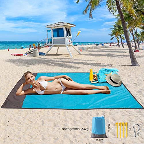 Picknickdecke Stranddecke Extra Large 210 x 200cm, wasserdichte sandfreie Campingdecke, Ultraleicht kompakt Tragbar aus 210T Polyester mit 4 Befestigung Ecken, Ideal für Camping Picknick Park Strand