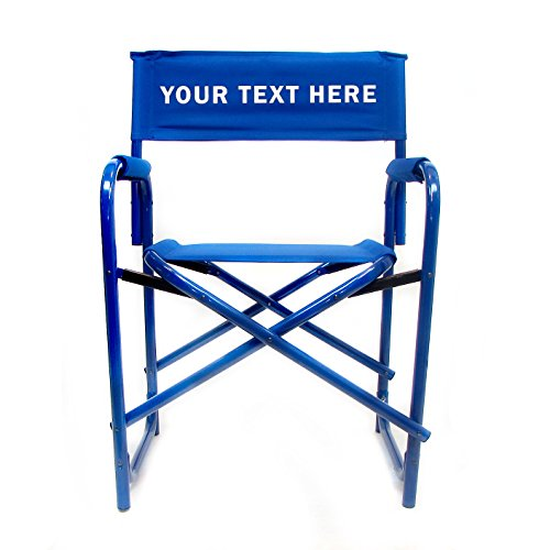 "Personalized Embroidered All Aluminum 18"" Standard Directors Chair by E-Z Up - Blue"