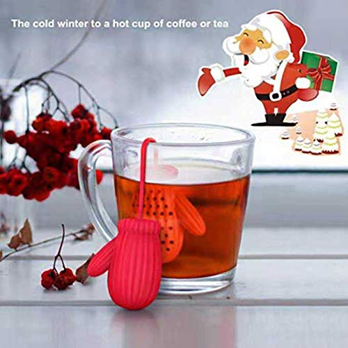 Christmas Santa Claus Gloves Tea Infuser Stainless Steel Strainers - Great Holiday Gift for Tea Lovers