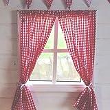 Kinder Spielhaus Vorhänge - rotes Vichy-Muster - inklusive Befestigungsmaterial -...