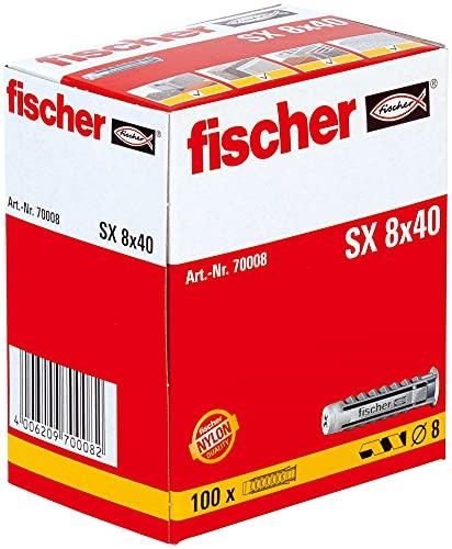 Oferta de fischer - Tacos pared para hormigón SX 8x40 para fijar lámparas, cuadros, Caja tacos 100 uds