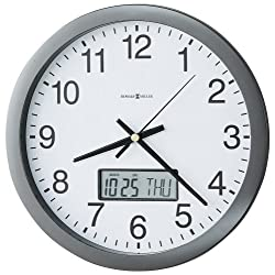 Howard Miller Chronicle Wall Clock with LCD Inset, 14in, Gray, 1 AA Battery