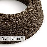 creative cables Textilkabel, geflochten, Querschnitt 3x1,50, braun natürliche Leine, TN04-1 Meter