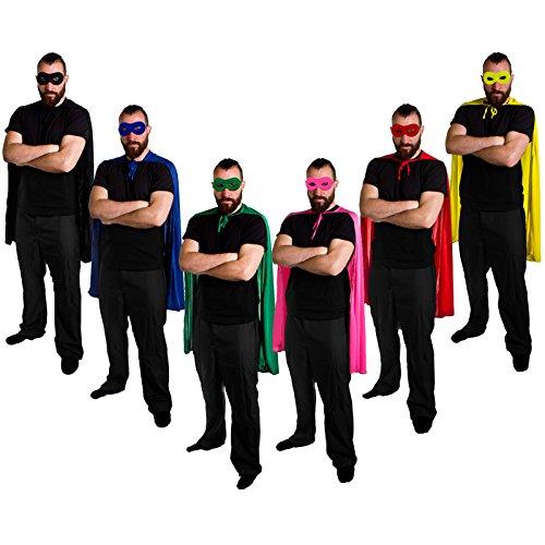 SUPERHELDEN ODER HELDINEN UMHANG IN 6 ILOVEFANCYDRESS®MIT Maske IN DER Farbe des UMHANGS=Hero Cape IN ROSA MIT Maske