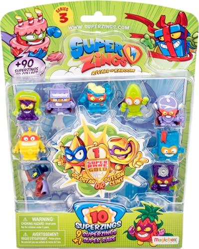SuperZings - Serie 3 - Blíster con 10 Figuras (PSZ3B016IN00), 1 Figura Dorada y 9 Figuras Regulares