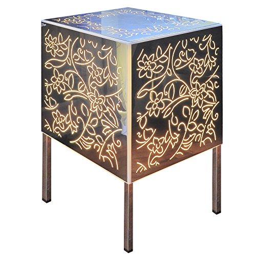 INSEGNESHOP Tavolino/Comodino cubo plexiglass/Lampada in Acciaio Luminoso a Specchio/Esterno Giardino Soggiorno Camera