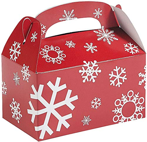 Christmas Treat Boxes (12 Pack) Red Snowflakes Cardboard Gable Cookie Boxes for Candy, Cookie, Xmas Party Favor Supplies for Kids by 4E's Novelty