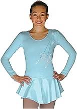 ChloeNoel DLP728 Plain Solid Sanded Poly Spandex Figure Skating Dress Light Blue w/Ribbon Skate Flakes