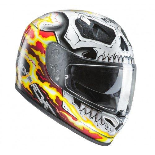 HJC Casque Moto Fg-St Ghost Rider MC1, Blanc/Rouge/Jaune, Taille L