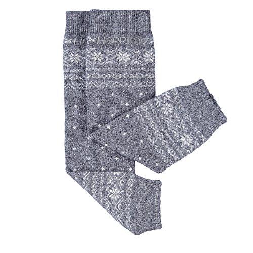 HOPPEDIZ® Baby-Stulpen aus Kashmir/Merinowolle Norweger-Design Grau