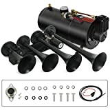 SUNCOO Train Air Horn, 150DB Loud 12V Air Horn with Complete Onboard System, 150psi Air Compressor, 1 Gallon Tank, 4 Trumpets, Train Horns Kit for Trucks/Cars/Semi/Pickup/Jeep/RV/SUV