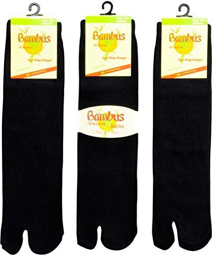 FussFreunde 3 Paar Zwei-Zehen-Socken, Bambussocken,Samurai-Socken, Tabi Socken, Sandalen Socken (Schwarz, One Size)