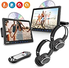 """Universal Dual Vehicle Headrest Monitor - 10.5"""" Multimedia CD and DVD Player Audio Entertainment w/ Stereo Speaker, HDMI, LCD Screen, Mount and Wireless Headphones for Car Seat - Pyle PLHRDVD108KT"""
