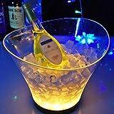 cubitera Cubo de hielo LED de 6 litros Enfriador de vino de gran capacidad Led Impermeable Retro Champaña Bebidas de vino Cubo de cerveza, alimentación por 4 pilas AAA, for fiesta Home Bar Cubo de Cha