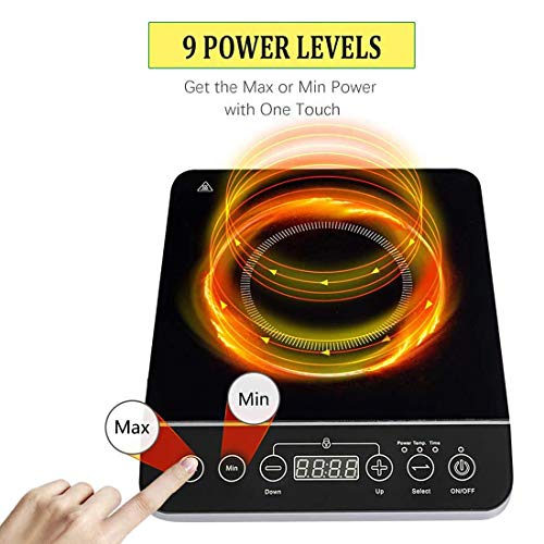 Product Image 4: Induction Cooktop, CUSIMAX 1800W Portable Induction Burner with Timer, Sensor Touch Countertop Burner, 10 Temperature and 9 Power Setting, Kids Safety Lock for Cast Iron, Stainless Steel Cookware