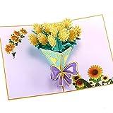3D Carte De Voeux 3D Carte De Voeux Pop-Up 3D Carte De Bouquet De Fleurs De Tournesol Saint-Valentin Thanksgiving Jour Du Professeur De NoëL (5Pcs) 15 * 20Cm