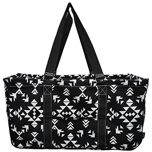 """NGIL All Purpose Open Top 23"""" Classic Extra Large Utility Tote Bag Spring 2018 Collection (Tribal Black White)"""