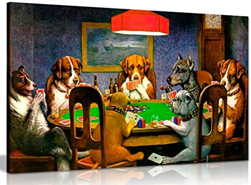 Cuadro en lienzo para pared de Pokers Dogs Playing Cards C. M. Coolidge (91,4 x 60,9 cm)