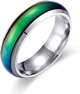 6MM Comfort Fit Stainless-Steel Color Changing Mood Ring Silver/Black/Gold/Rose Gold/Rainbow Tone