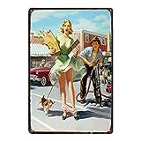 Vintage ruso placa de dibujos animados pintura de hierro Pin Up Sexy Girl Cartel de chapa Pub Cafe S...