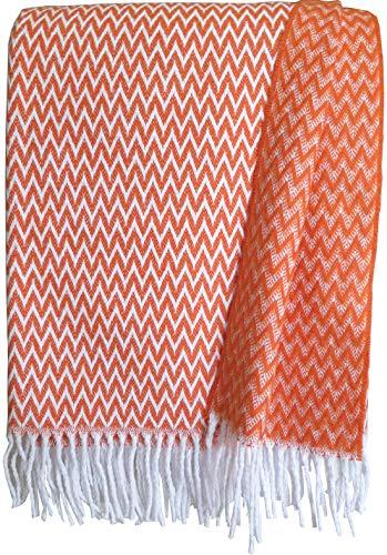 Zickzack Baumwolldecke, Plaid mit Fransen 140x200cm, Decke Baumwolle, Wohndecke, Kuscheldecke, Tagesdecke, Sofadecke (orange zz)