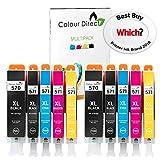 2 Ensembles (10 Encre) Colour Direct Compatible Cartouches PGI 570XL CLI 571 XL-...