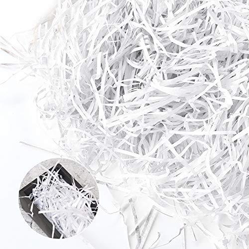 Papel arrugado, papel de rafia, papel de rafia, papel de corte arrugado para relleno de caja de regalo, relleno de cesta y dulces de boda (blanco)