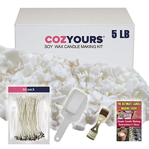 CozYours kaarsen maken set benodigdheden (2,3 kg soja was/60 katoenen pitten/1 Metalen centreer hulpmiddel/1 schepje). Soy was voor het maken van kaarsen