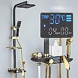Pantalla digital rociadores de temperatura constante conjunto de ducha de cuatro velocidades de oro negro Set termostático de ducha Sistema de Ducha Ducha de Mano Set de Ducha