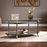 Southern Enterprises Allesandro Oval Coffee Table, Dark Gray/Gold