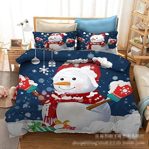 BLTMIT Duvet Cover 3 Pieces Printed Bedding Duvet Cover with Zipper Closure Soft Microfiber Quilt Cover Red hat snowman EU Sing:135 * 200cm*1,Pillowcase:50 * 75cm*1