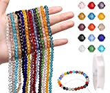 LUBEADS Glass Beads for Bracelet Making 15 Color 6MM Bicone Faceted Crystal Beads - 675Pcs Shiny Czech DIY Beading with 1 Roll Elastic Strings for DIY Jewelry Making Ring Earring Necklace Decoration