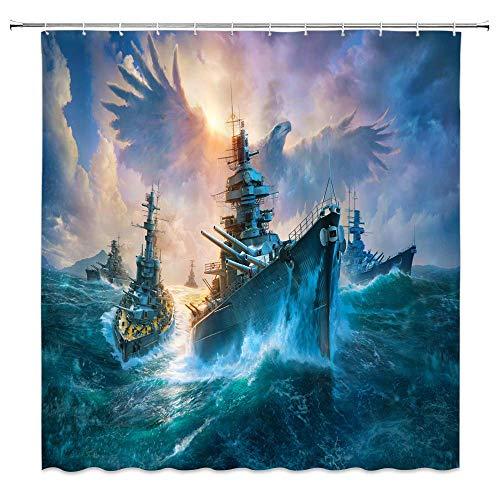 JOOCAR Design Duschvorhang, kreativer Ozeankrieg Flotte Schiff Surf Riesiger Adler Fantasy Meer Himmelblau Wasserdicht Stoff Stoff Badezimmer Dekor Set mit Haken