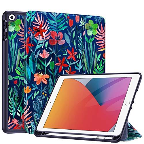 Fintie Hülle für iPad 8. Generation (2020) / 7. Gen (2019) 10.2 Zoll - Superleicht Soft TPU Rückseite Abdeckung Schutzhülle mit eingebautem Pencil Halter, Auto Sleep/Wake, Dschungelnacht