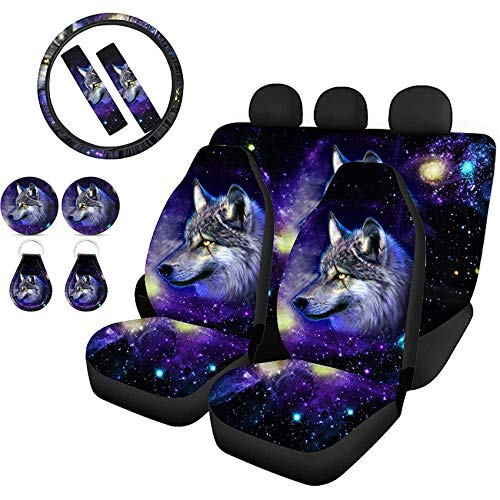 Goyentu Galaxy Wolf Car Seat Covers Set with Steering Wheel Cover + Seatbelt Strap Covers + Coasters + Key Chains, Auto Interior Decorative Accessories Universal Fit for Most Trucks SUV Van Vehicles