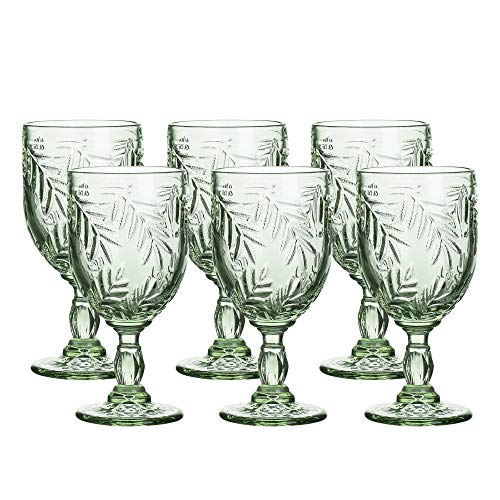 Colored Glass Goblet Vintage - Pressed Pattern Wine Glass Wedding Goblet - 8.5 Ounce Set of 6 (Green)
