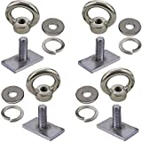 Pmsanzay 4 Pack Heavy Duty Eye Bolt, Stainless Steel - M8 Eye Nuts, Track Mount Tie Down Eyelet to Hold Your Bungee Cord or Ropes Anchoring, Anchoring kit