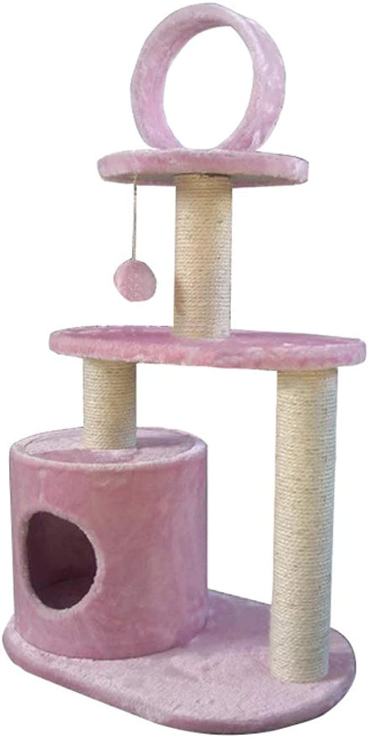 GCHOME Cat tree tower Cat tree, short plush natural sisal cat tree tower cat climbing frame wearresistant scratchresistant durable (Pink) A2