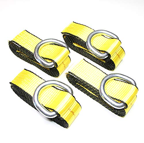 (Pack of 4) 2 X 8 Ft Lasso Tow Strap with D Ring Auto Hauler Tie Down