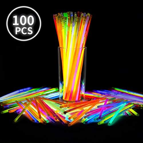 Generic V_GS-Mix b 20,3 cm Sticks Packs Armbänder Ketten Neon Light fluoreszierend 100 Stück Glow in the Dark Fun Party Zubehör mehrfarbig