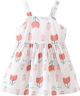 Patifia Baby M/ädchen Kinder Kleider /Ärmellos Denim Patchwork Kleid Blumendruck Schmetterlingsknoten S/ü/ß Babybekleidung T/ägliches Freizeitkleider