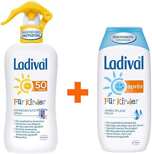 Sparset Ladival Sonnenschutzspray LSF50 Kinder + Ladival für Kinder Apres Lotion 1 Set