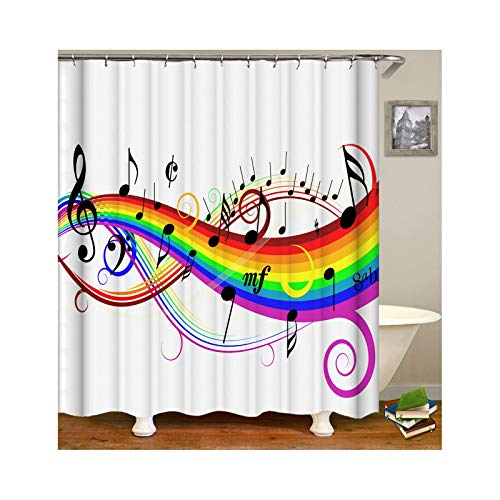 Abellale Duschvorhang Antischimmel Antibakteriell Sieben Farben Regenbogen Musik Lustiger Duschvorhang Weiß 90x180CM